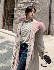 Fashion Off-white Loose Mid-length Large Pocket Hooded Down Padded Jacket