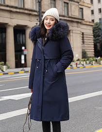 Fashion Navy Blue Long Section Over The Knee Detachable Plus Fleece Liner Cotton Hooded Pie To Overcome