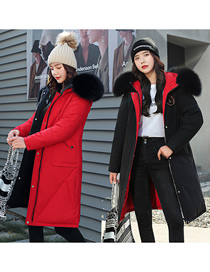 Fashion Black+red Add Fertilizer To Increase Looseness And Wear Down Cotton Jacket On Both Sides