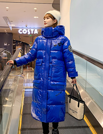 Fashion Blue Hooded Mid-length Over-the-knee Thick Shiny Cotton Jacket