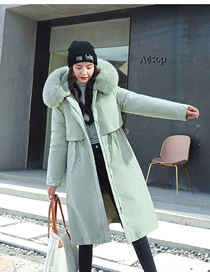 Fashion Pea Green Color Long Waist Thickened Detachable Liner Hooded Pie To Overcome