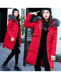Fashion Red Gray Fur Collar Large Fur Collar Mid-length Over The Knee Thick Down Padded Jacket