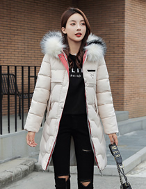 Fashion Creamy-white Large Size Mid-length Slim-fit Hooded Down Padded Jacket