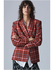 Fashion Red Plaid Plaid Double-breasted Suit Jacket