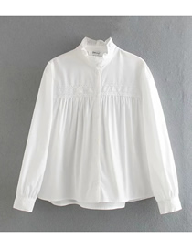Fashion White Lace Collar Cotton Shirt With Wood Ears