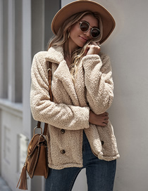 Fashion Khaki Beltless Solid Color Double-breasted Loose Coat With Lapel