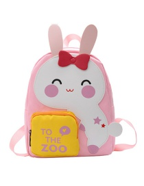 Fashion Pink Bunny Dinosaur Stitching Contrast Color Childrens Backpack