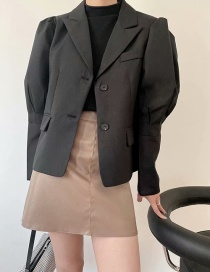Fashion Black Double Breasted Loose Suit Jacket