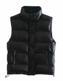 Fashion Black Loose Jacket With Stand-up Collar Cotton Vest