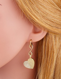 Fashion Gold Color Love Copper Inlaid Zircon Earrings