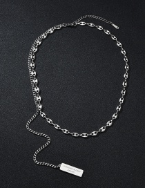 Fashion Pig Nose Square Necklace Pig Nostril Coffee Bean Tassel Square Brand Stainless Steel Necklace