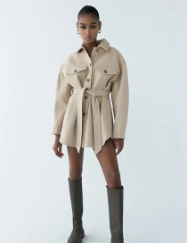 Fashion Beige Pink Single-breasted Jacket With Belted Faux Wool
