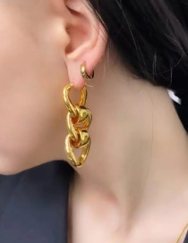 Fashion Gold Color Copper Gold-plated Circle Chain Hollow Earrings