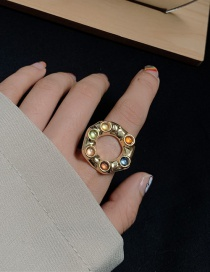 Fashion Gold Color Alloy Ring With Gemstone Disc