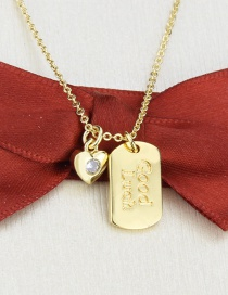 Fashion Gilded Gold-plated Heart-shaped Letter Tag Necklace