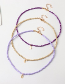 Fashion Purple+gold Rice Bead Bead Alloy Star And Moon Pendant Necklace Set