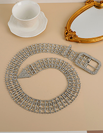 Fashion Silver Color Alloy Diamond-studded Square Hollow Belt