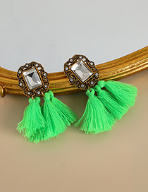 Fashion Fluorescent Green Alloy Diamond Square Cotton Thread Tassel Earrings