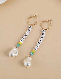 Fashion White Alloy Pearl Resin Letter Beaded Earrings