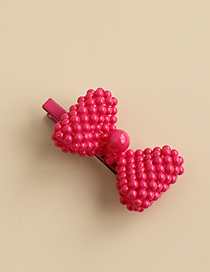 Fashion Rose Red Alloy Resin Three-dimensional Bow Duckbill Hairpin