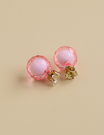 Fashion Pink Alloy Resin Pearl Flower Earrings