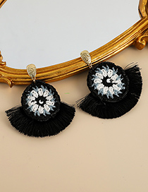 Fashion Black Alloy Rice Bead Cotton Thread Braided Tassel Earrings