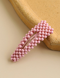 Fashion Pink Alloy Resin Beads Hollow Triangle Hairpin