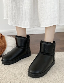 Fashion Black Plush Padded Flat-bottomed Round-toed Snow Boots