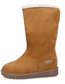 Fashion Brown Flat-bottomed Waterproof And Non-slip Mid-tube Plus Velvet Snow Boots