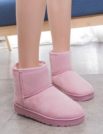 Fashion Pink Short Tube And Velvet Round Toe Low-heel Snow Boots