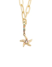 Fashion Starfish Gold-plated Copper Necklace With Zirconium Starfish