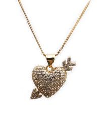 Fashion One Arrow Through The Heart Box Chain Gold A Gold-plated Copper Necklace With Micro-inlaid Zircon