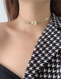 Fashion Gold Color Flat Snake Bone Buckle Alloy Necklace