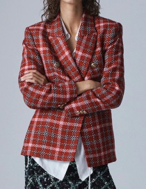 Fashion Red Plaid Double-breasted Blazer