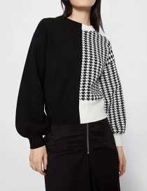 Fashion Black Contrasting Color Houndstooth Pullover Sweater