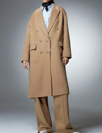 Fashion Ginger Wool Double-breasted Coat Coat