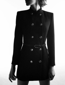 Fashion Black Double Breasted Solid Color Jacket With Belt