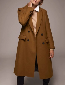 Fashion Camel Double-breasted Lapel Long Coat