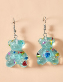 Fashion Blue Spotted Bear Resin Alloy Earrings