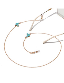 Fashion Golden Turquoise Butterfly Handmade Non-slip Glasses Chain