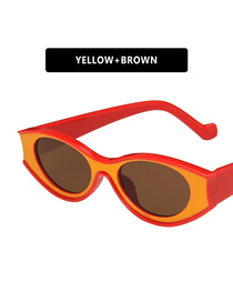 Fashion Yellow Framed Tea Slices Oval Concave-convex Uv Protection Resin Sunglasses