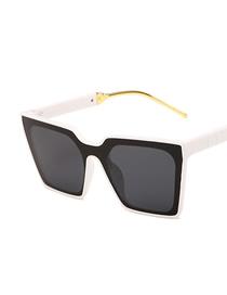 Fashion Real White Gray Flakes Resin Large Frame Cat Eye Sunglasses