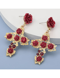 Fashion Red Rose Cross Alloy Diamond Earrings