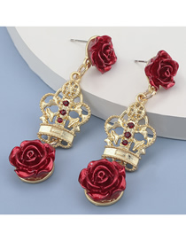 Fashion Red Hollow Crown Rose Flower Alloy Earrings