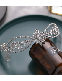Fashion Silver Color Alloy Geometric Hair Comb With Diamonds Flowers And Leaves