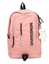 Fashion Pink Without Pendant Letter Print Oxford Backpack