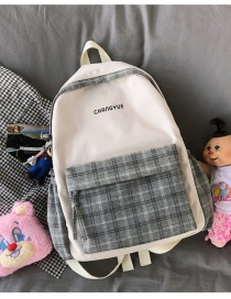 Fashion Gray Without Pendant Colorblock Check Letter Print Backpack
