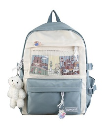 Fashion Blue Without Pendant Bear Mesh Stitching Letter Logo Backpack