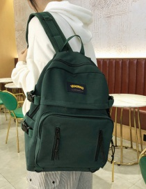 Fashion Dark Green Waterproof Nylon Fabric Letter Logo Backpack