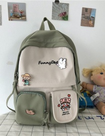 Fashion Green Without Pendant Contrast Stitching Nylon Cloth Letter Embroidery Backpack